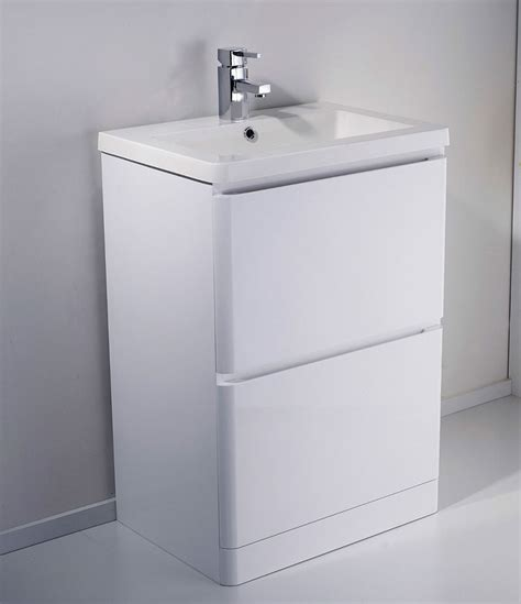 White Bathroom Sink Vanity Units Alaska 600mm Freestanding White Gloss Basin Vanity Unit
