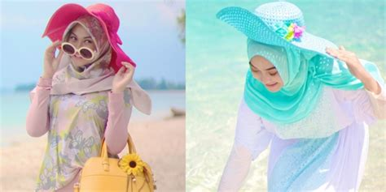 Baju Muslimah Ke Pantai indah puspita gaya manis hijaber di pantai co id