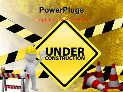 Powerpoint Template White Figure Wearing Hard Hat Standing In Front Of Large Under Construction Construction Powerpoint Presentation Templates