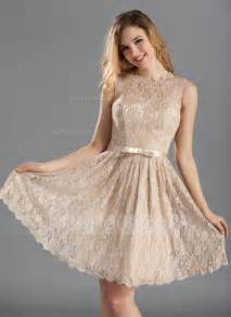 a line princess scoop neck knee length lace bridesmaid