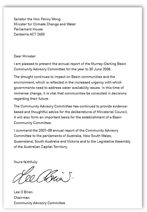 annual report cover letter murray basin commission annual report 2007 2008
