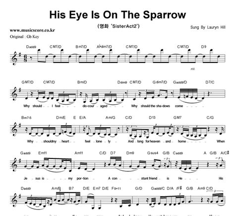 lauryn hill his eye is on the sparrow lyrics lauryn hill his eye is on the sparrow g키 악보 뮤직스코어 악보가게