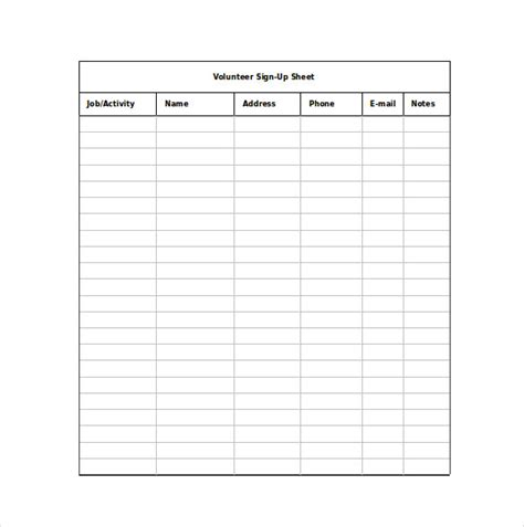 10 volunteer sign up sheet template authorizationletters org