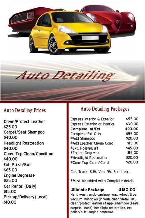 9 best images of auto detailing flyers auto detailing