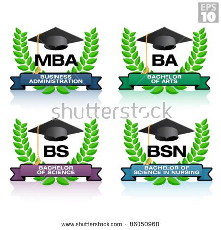 Bsn And Mba degrees in education with wreath and graduation hat