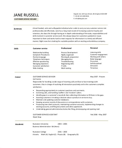 Resume Exles Objective For Customer Service Sle Resume Objective 9 Exles In Pdf