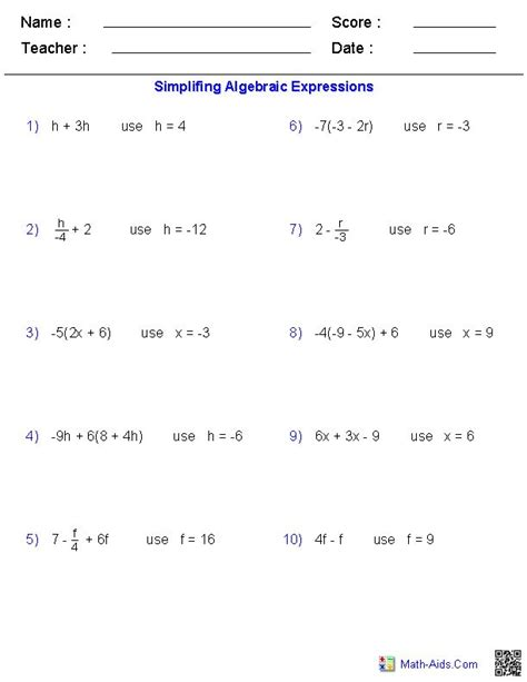 arithmetic and pre algebra workbook comprehensive activities for mastering essential math skills books simplifying and evaluating expressions worksheet