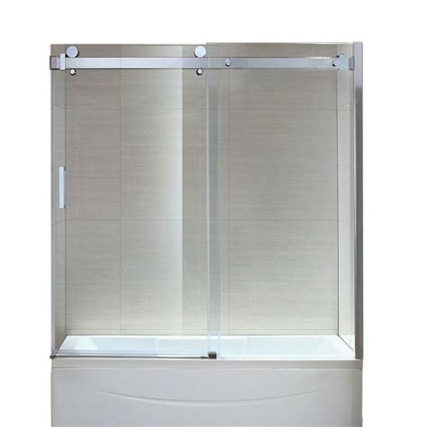 sliding glass bathtub doors ove decors sierra 59 2 in x 59 in frameless sliding tub