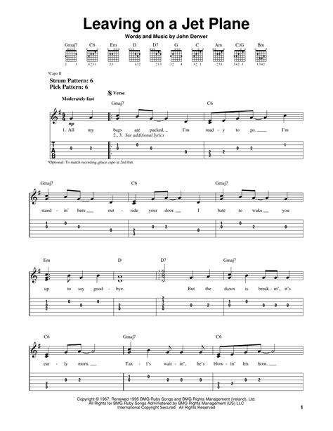 guitar tutorial john denver leaving on a jet plane sheet music direct