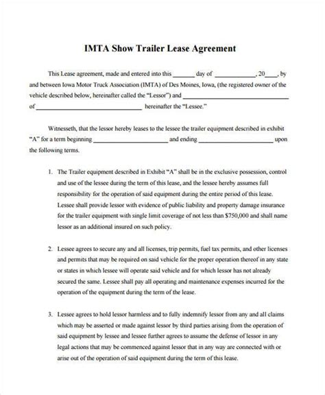 Sle Truck Lease Agreements 9 Free Documents In Word Pdf Truck Lease Purchase Agreement Template