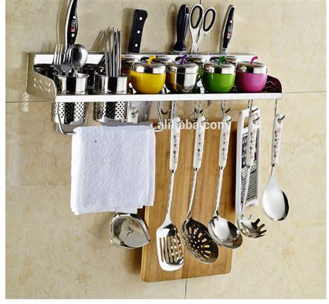 stainless steel wall mount rack rail kitchen utensil hook