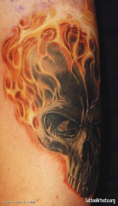 fire skull tattoo designs grey ink skull with and