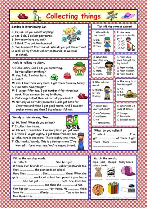exercises with keys free english materials for you collecting things key included worksheet free esl