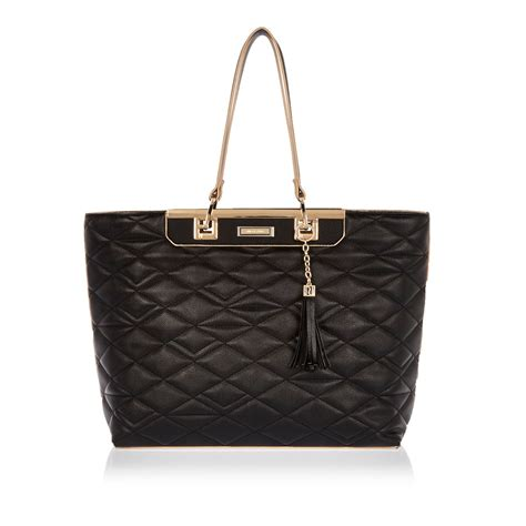Handbag Tote Bag Black river island black quilted tote handbag in black lyst