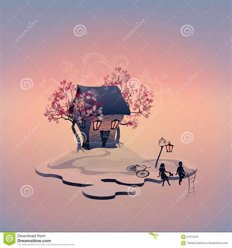 dog and child near my house autumn landscape with brick house on the island stock vector image 61213378