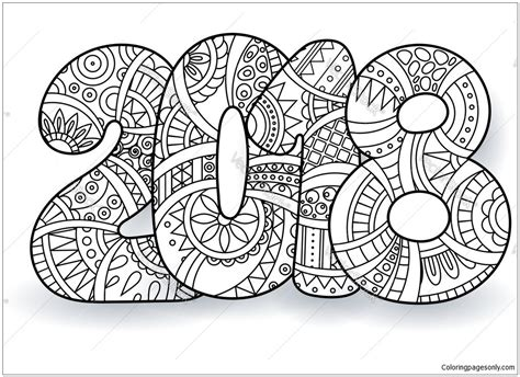 coloring page year of the happy new year 2018 coloring page free coloring pages