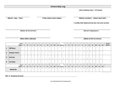 driving log book template drivers daily log template
