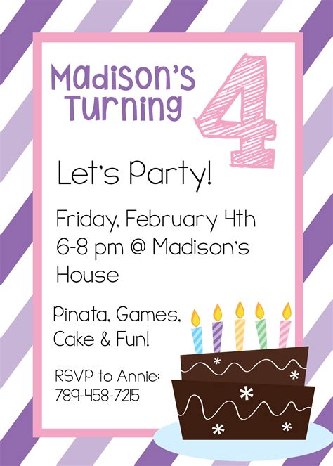 free invites with photo free printable birthday invitation templates