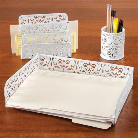 Damask Desk Accessories Damask Desk Accessories Black And White Damask Desk