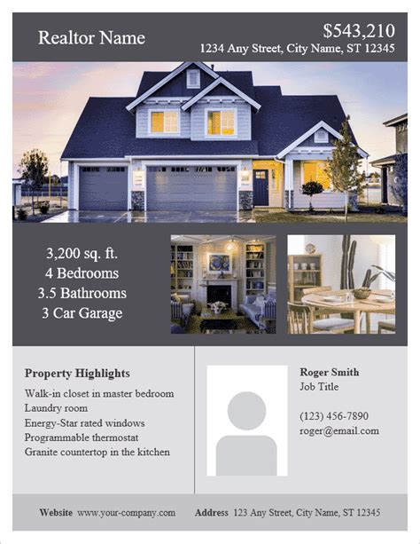 real estate flyer template for word