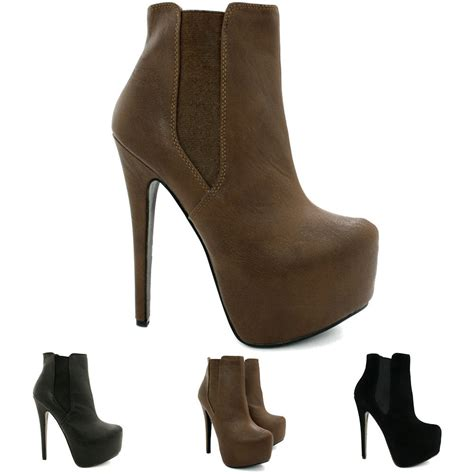 new womens stiletto heel concealed platform chelsea ankle
