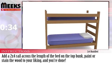 2x4 Bunk Bed Plans Meek S In A Minute 2x4 Bunkbed