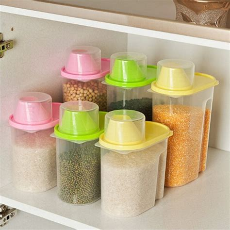 Kitchen Cereal Storage Box Food Grade Plastic Food Cooking Container Kitchen Supplies