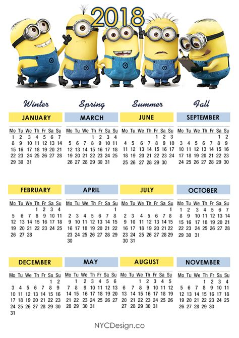 2018 Year At A Glance Calendar Musings Of An Average 2018 Year At A Glance Calendars