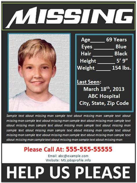 Missing Child Flyer Template
