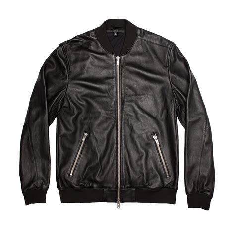 Jacket Denim Mens Premium mens leather bomber jacket in black dstld premium denim
