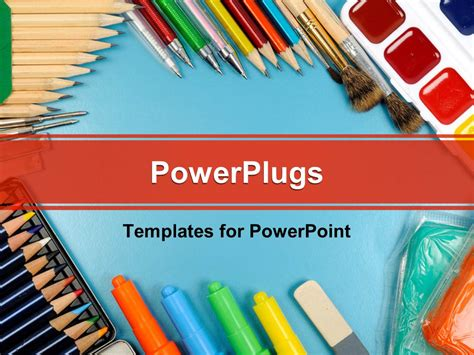 powerpoint template different writing materials and tools