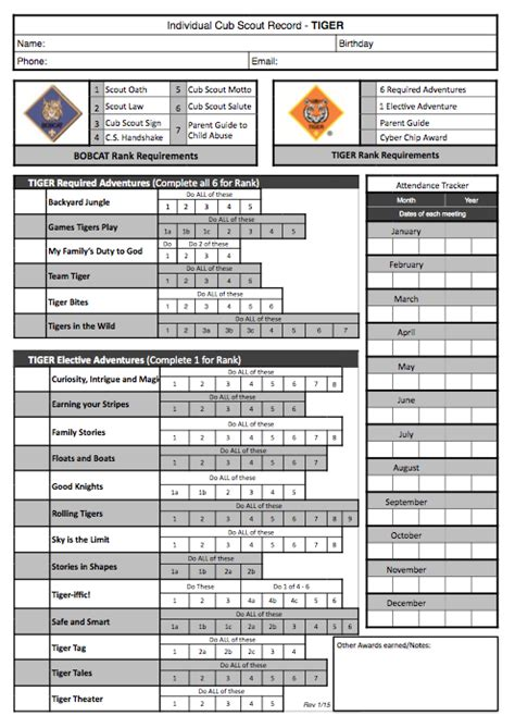 Boy Scout Tracking Spreadsheet by Akela S Council Cub Scout Leader Original Cub