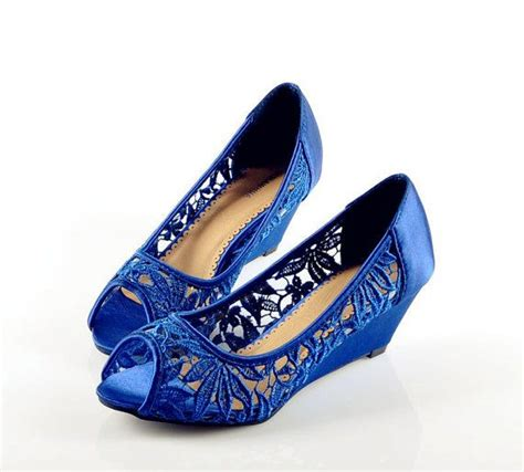 Blue Wedge Heels Wedding by Handmade Lace Fish Wedges Heel Wedding Shoes Bridal