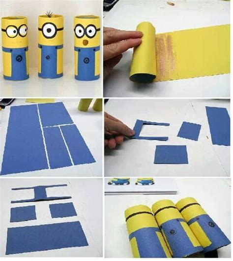 Minion Toilet Paper Roll Craft - upcycle toilet paper rolls to make minions with this