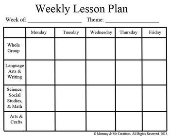 Weekly Preschool Lesson Plan Template Pre K Pinterest Lesson Plan Templates Template And Lesson Plan Calendar Template