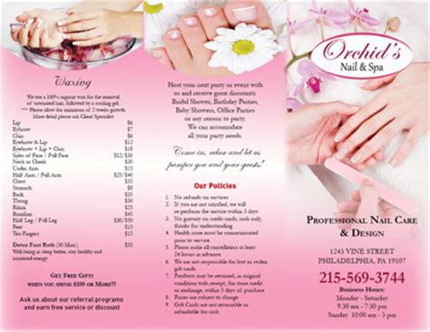 Mẫu In Brochure Spa Salon Nails Spa Hair Salon Nail Brochure Templates Free