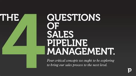 sales pipeline management the 4 important questions
