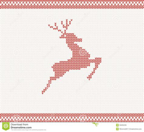 christmas and winter knitted pattern with deer royalty