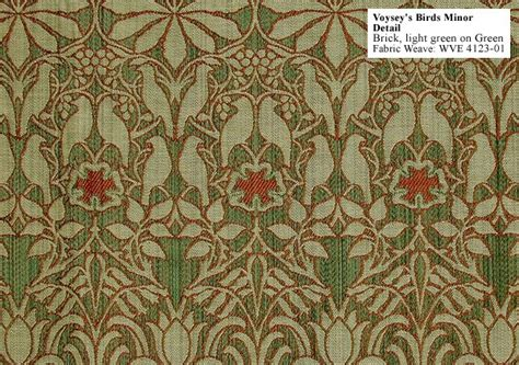 arts upholstery birds wallpaper in green by voysey arts and crafts