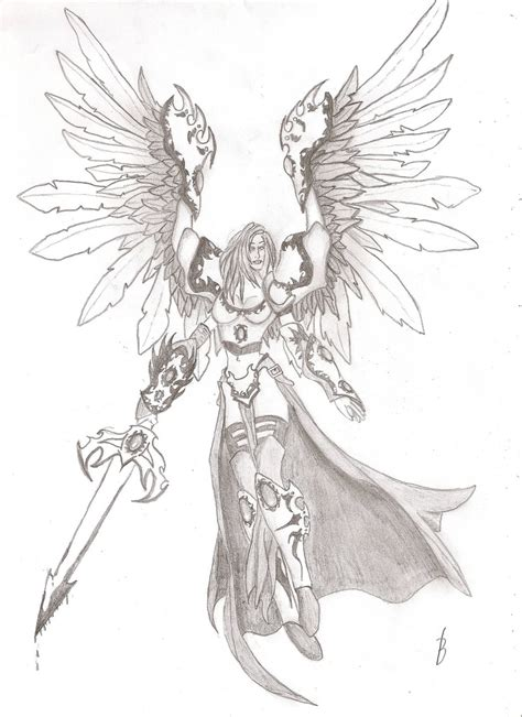warrior angel a woman with armor sword and wings a