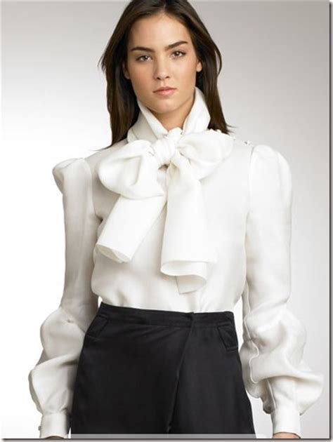 White High Neck Blouse With Bow by Proenza Schouler Scarf Collar Tie Blouse Thegloss