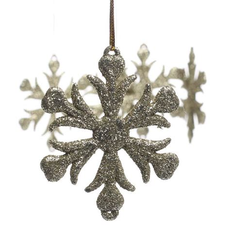 gold glittered snowflake ornaments christmas ornaments