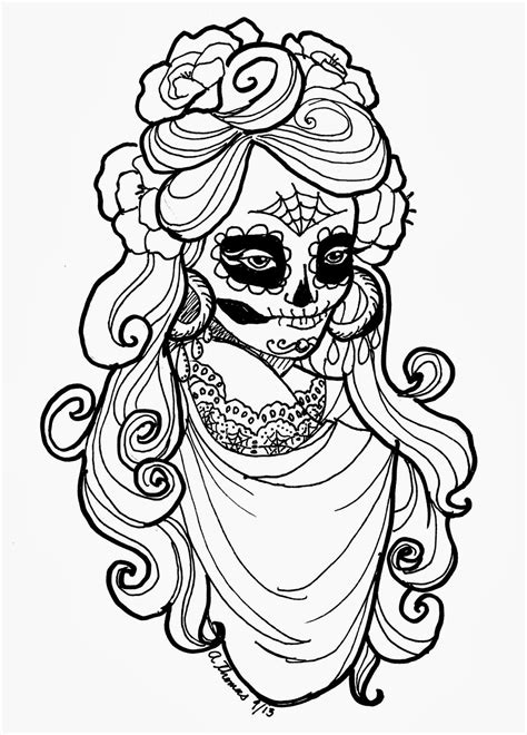 la catrina coloring pages free sugar skull adult coloring page by andrea thomas free