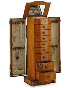 large floor standing 8 drawer wooden jewelry armoire with