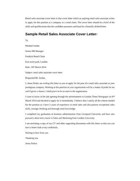 Cover Letter For A Sales Associate by Basic Retail Sales Associate Cover Letter Sles And Templates