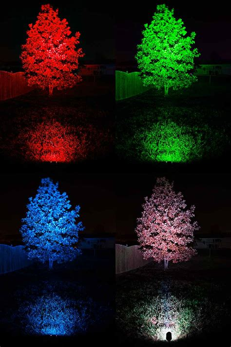 Colored Landscape Lights 18w Color Changing Rgb Led Landscape Spotlight 525 Lumens Remote Sold Separately Led