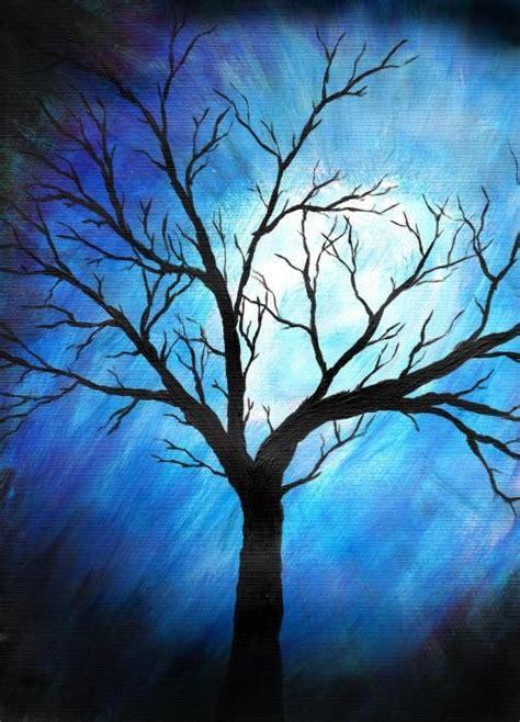 Cat Akrilik Gouache abstract tree paintings abstract tree on blue sabrina
