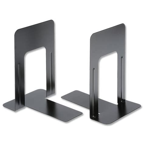 Bookshelf Book Stopper 5 office book ends metal heavy duty 229mm black pack 2