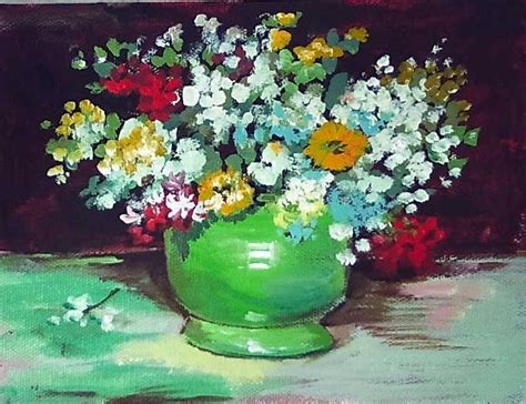 acrylic painting lessons flowers gogh vase with zinnias and other flowers