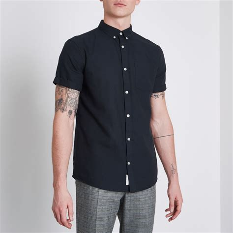 Shirt Navy navy sleeve casual oxford shirt sleeve